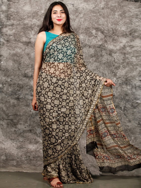 Ivory Black Hand Block Printed Chiffon Saree with Zari Border - S031703217