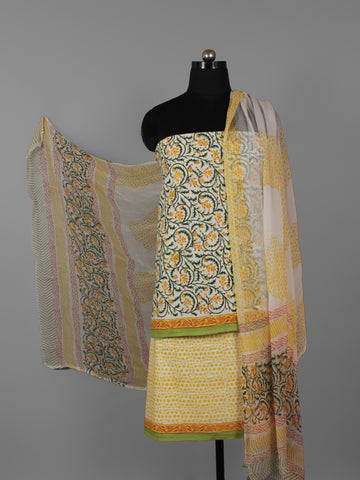 Ivory Yellow Green Hand Block Printed Cotton Suit-Salwar Fabric With Chiffon Dupatta (Set of 3) - S16281305