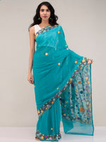 Sea Green Aari Embroidered Georgette Saree From Kashmir - S031704651
