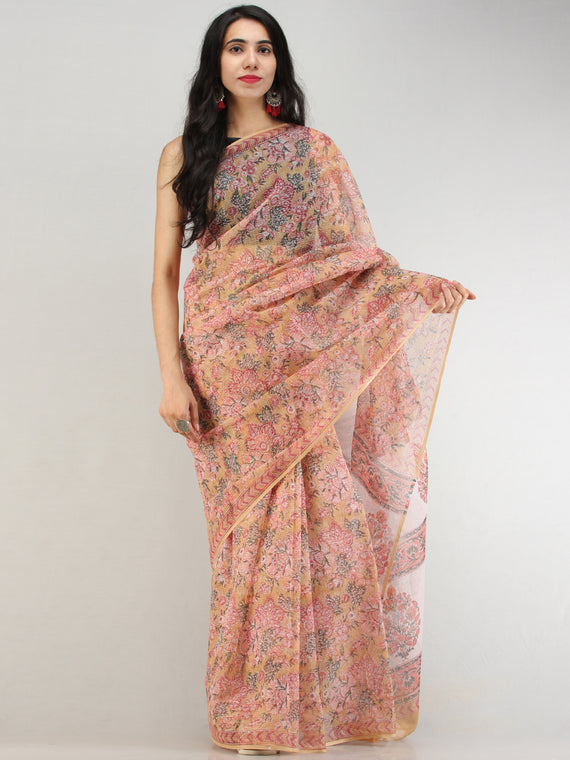 Yellow Peach Pink Green Hand Block Printed Kota Doria Saree - S031704579