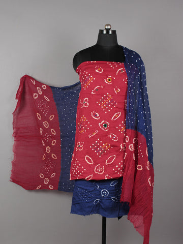 Red Blue White Hand Tie & Dye Bandhej Suit Salwar Dupatta (Set of 3) With Hand Embroidery & Mirror Work - S16281267