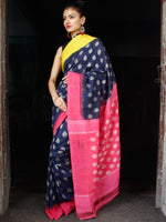 Indigo Pink Yellow Grey Ikat Handwoven Ganga Jamuna Border Cotton Saree - S031703637
