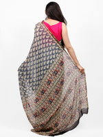 Beige Indigo Maroon Hand Block Printed Chiffon Saree with Zari Border - S031703260