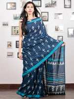 Indigo White Sky Blue Hand Block Printed Cotton Mul Saree - S031703044