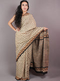 Beige Brown Black Cotton Hand Block Bagru Printed Saree - S03170265