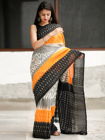 Black Grey Orange Ikat Handwoven Cotton Saree - S031704053