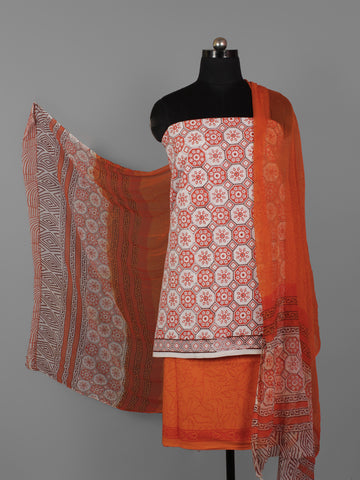 White Rust Orange Hand Block Printed Cotton Suit-Salwar Fabric With Chiffon Dupatta (Set of 3) - S16281306