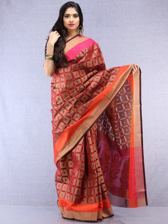 Banarasee Super Net Saree With Zari Border - Rust Copper  & Pink - S031704433