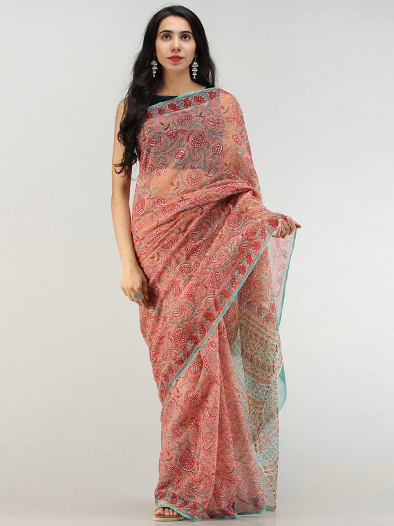 Coral Red Green Hand Block Printed Kota Doria Saree  - S031704580