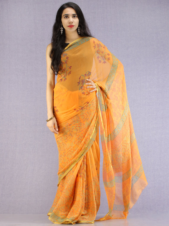 Mustard Red Green Hand Block Printed Chiffon Saree with Zari Border - S031704610