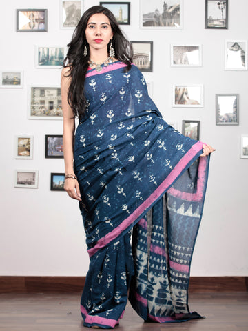 Indigo White Pink Hand Block Printed Cotton Mul Saree   - S031703043