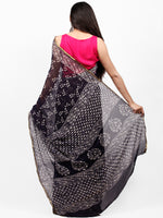Black White Hand Block Printed Chiffon Saree with Zari Border - S031703261