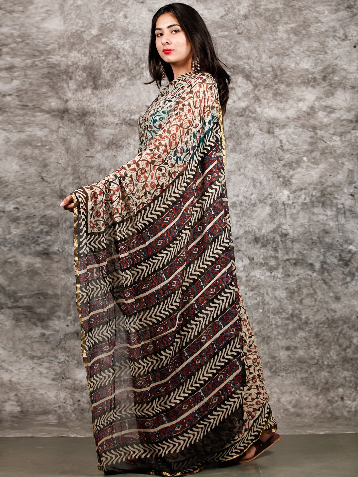 Ivory Red Black Hand Block Printed Chiffon Saree with Zari Border - S031703218