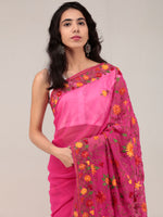 Pink Aari Embroidered Georgette Saree From Kashmir - S031704652