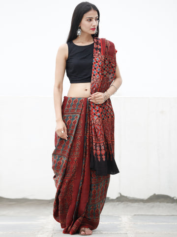 Red Black Blue Beige Ajrakh Hand Block Printed Modal Silk Saree in Natural Colors - S031703724