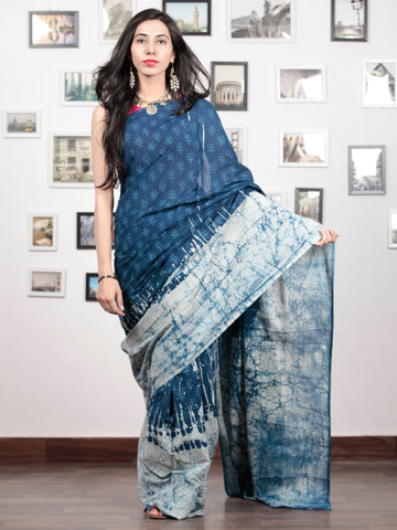 Indigo White Hand Block Printed Cotton Mul Saree   - S031703045