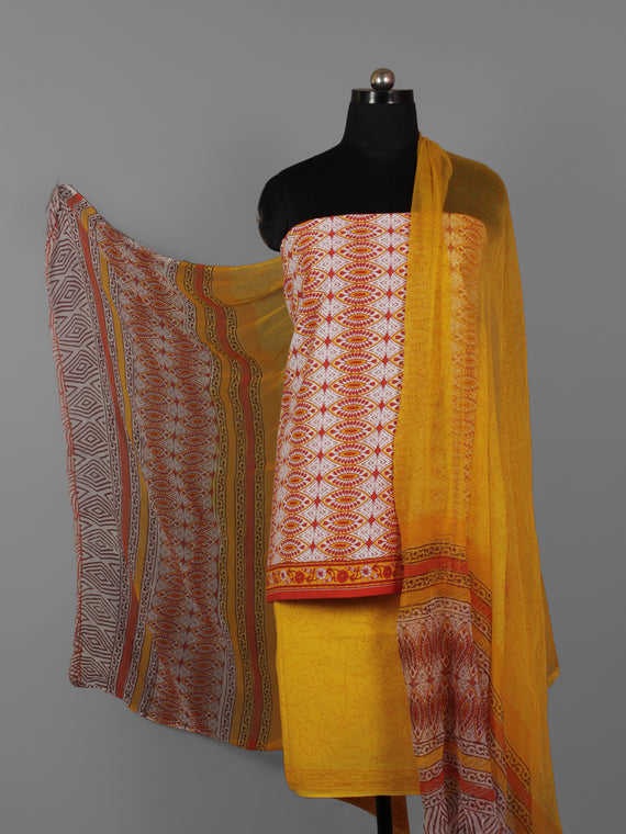 White Yellow Maroon Hand Block Printed Cotton Suit-Salwar Fabric With Chiffon Dupatta (Set of 3) - S16281307