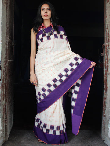 Purple White Coral Double Ikat Handwoven Mercerised Cotton Saree - S031703539