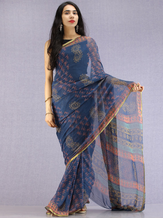 Navy Coral Yellow Hand Block Printed Chiffon Saree with Zari Border - S031704611
