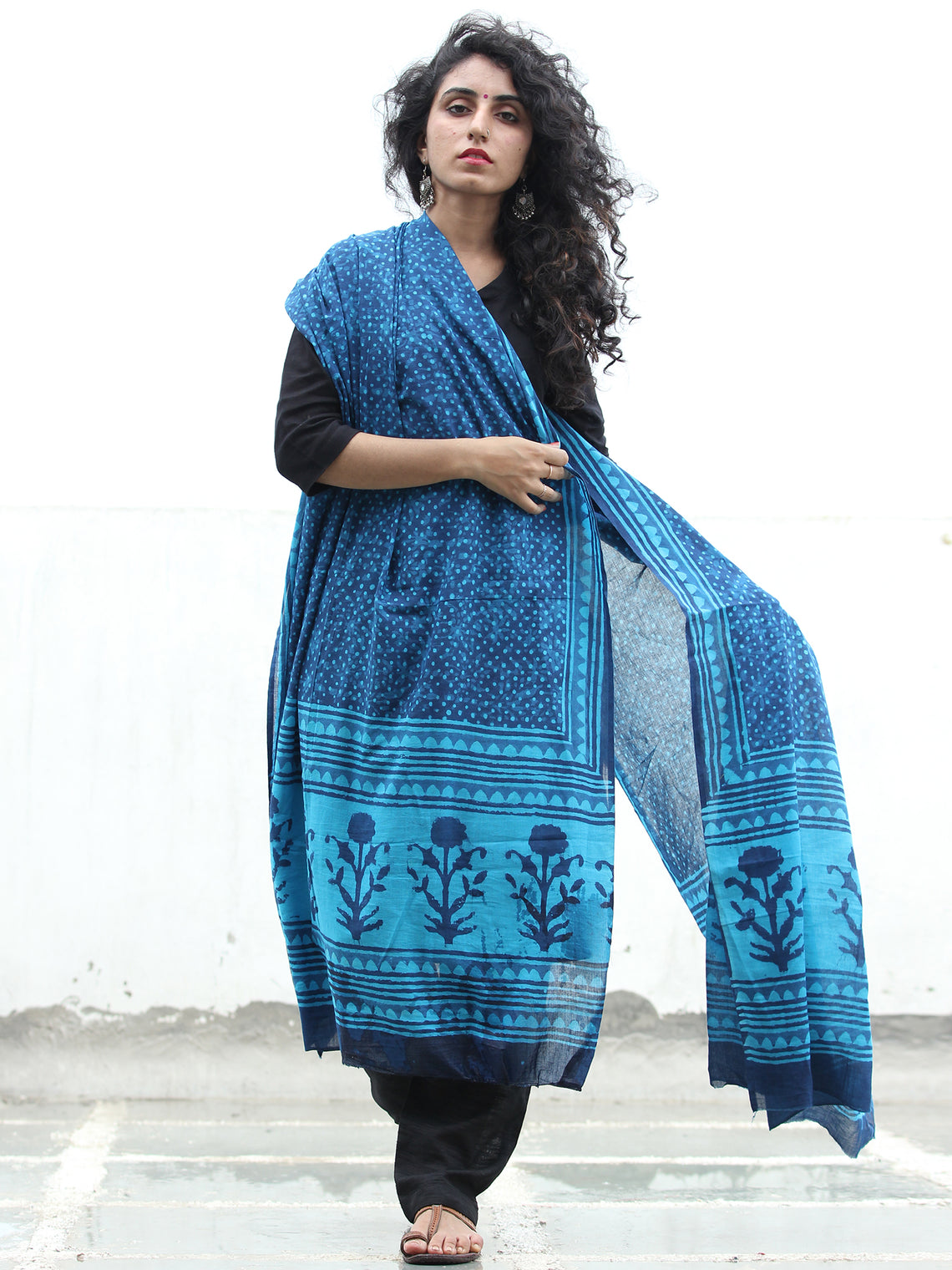 Indigo Sky Blue Cotton Hand Block Printed Dupatta - D04170424