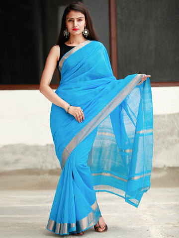 Sky Blue Handloom Mangalagiri Cotton Saree With Zari Border - S031704055