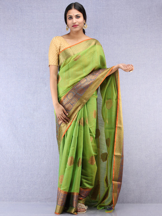 Banarasee Cotton Silk Saree With Zari Work - Light Green Blue & Gold - S031704434