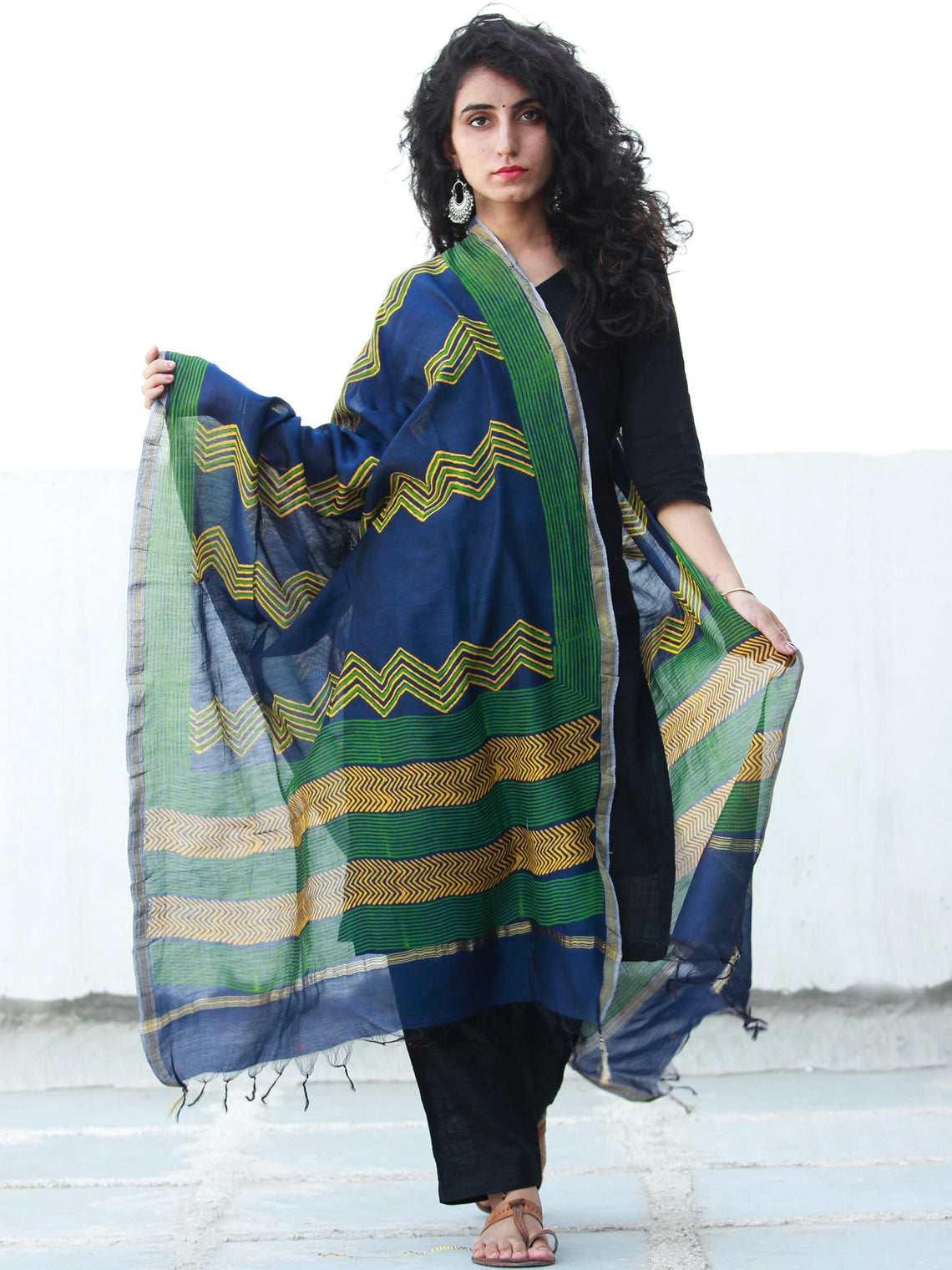 Royal Blue Yellow Green Chanderi Hand Block Printed Dupatta - D04170475