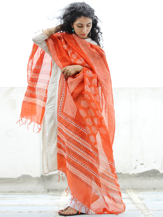 Orange Ivory Maroon Hand Block Printed Dupatta - D04170327