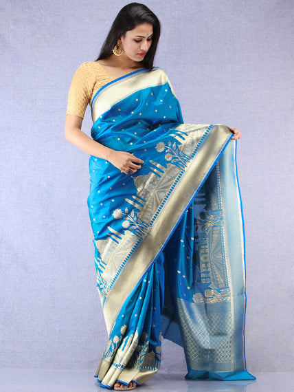 Banarasee Silk Saree With Taj Mahal Motiff & Zari Work - Turquoise Blue & Gold - S031704336