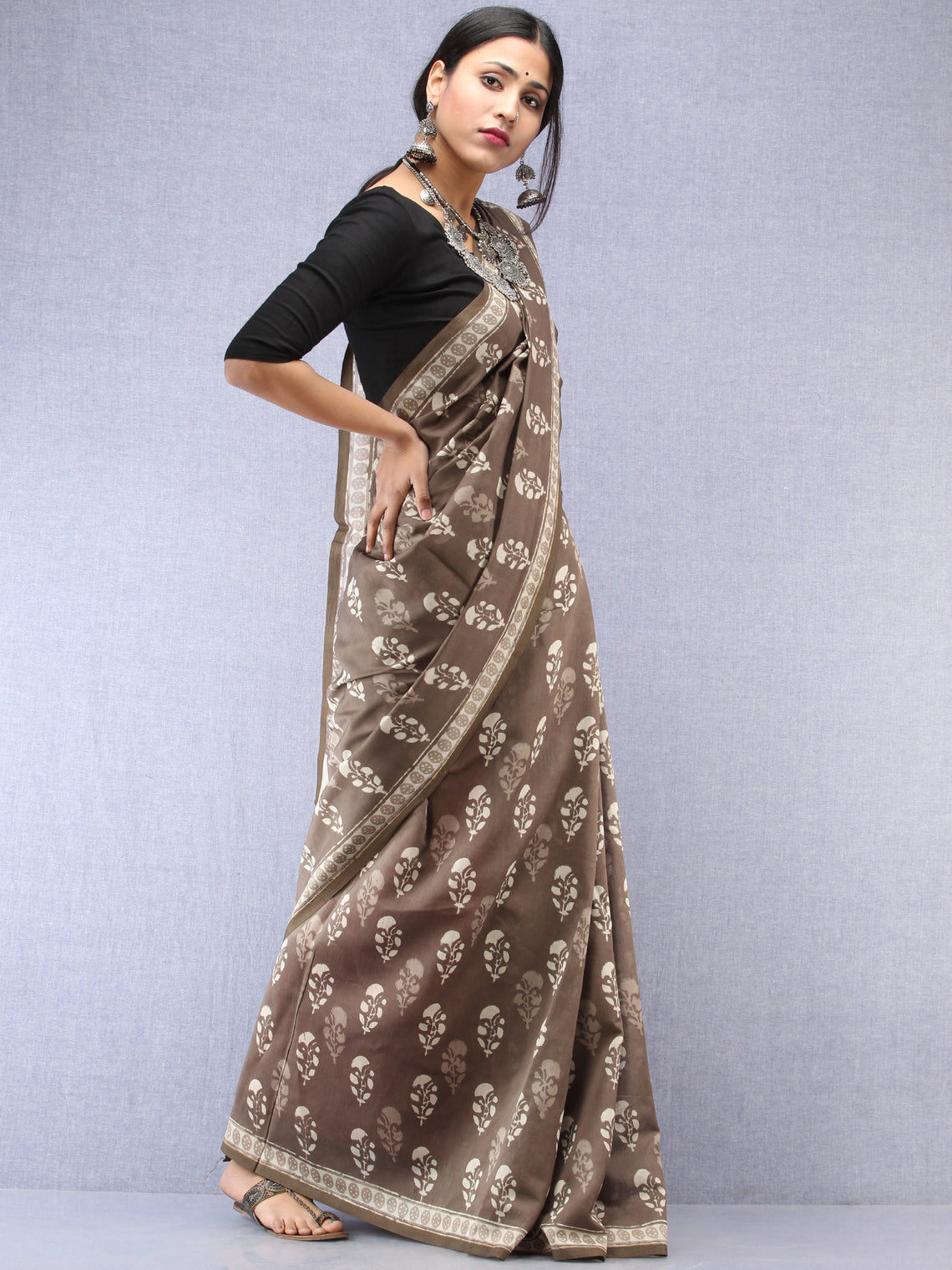 Kashish White Hand Block Printed Chanderi Saree With Zari Border - S031704531