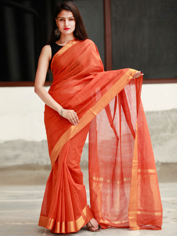 Deep Orange Handloom Mangalagiri Cotton Saree With Zari Border - S031704056