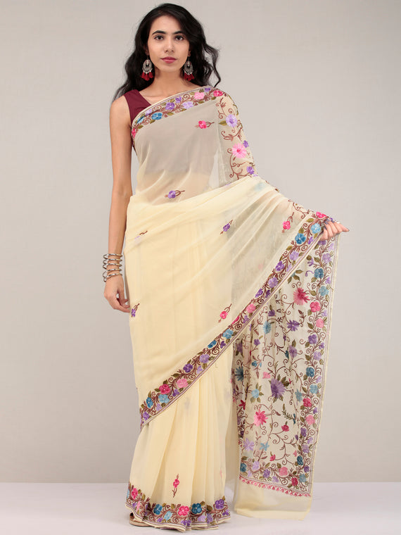 Off White Aari Embroidered Georgette Saree From Kashmir - S031704654
