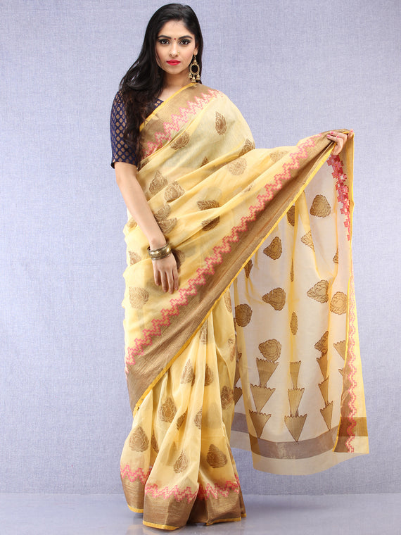 Banarasee Cotton Silk Saree With Zari Work - Ivory Pink & Gold - S031704435