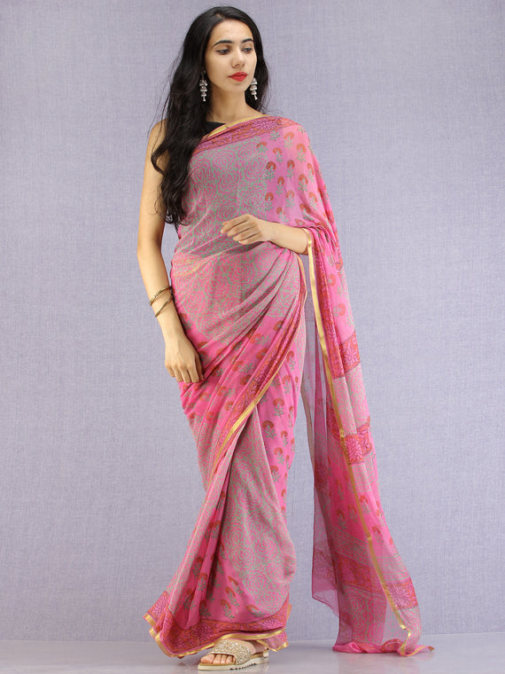 Pink Red Green Hand Block Printed Chiffon Saree with Zari Border - S031704612