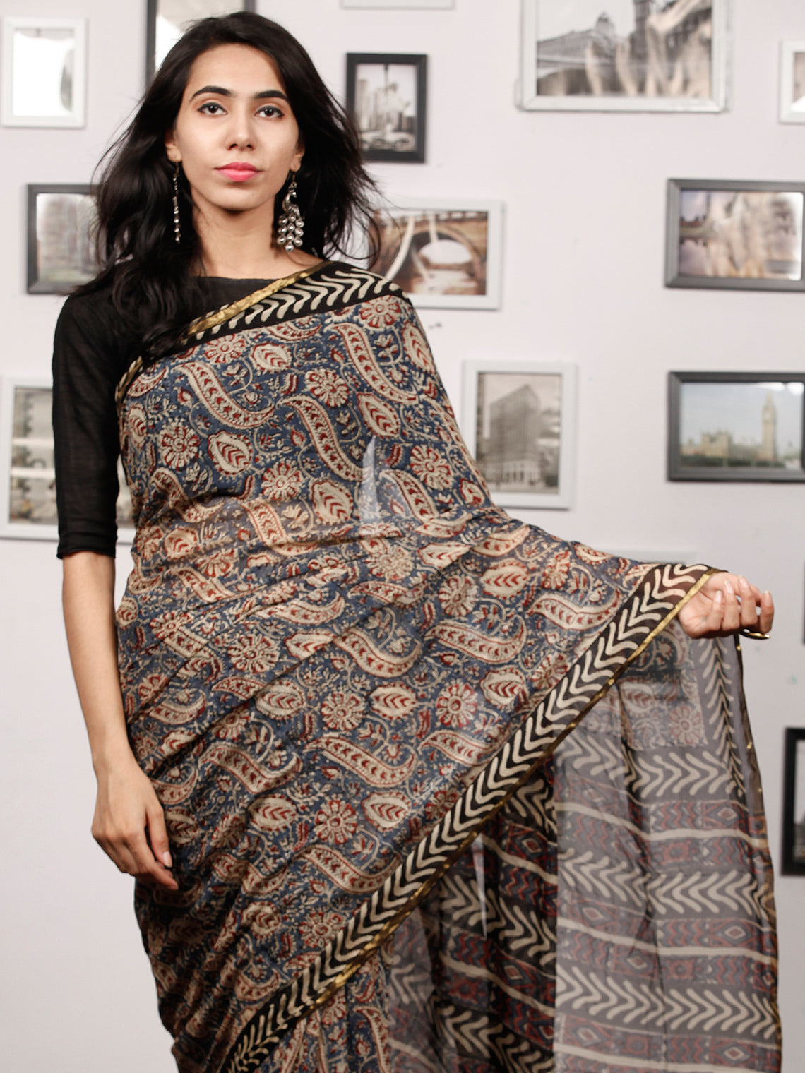 Beige Blue Rust Black Hand Block Printed Chiffon Saree with Zari Border - S031703504