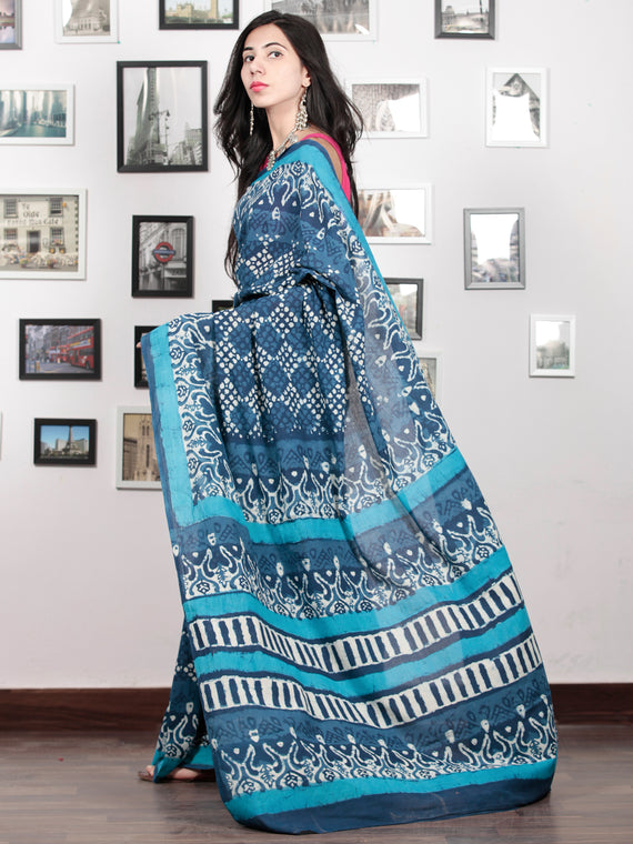 Indigo White Blue Hand Block Printed Cotton Mul Saree - S031703046