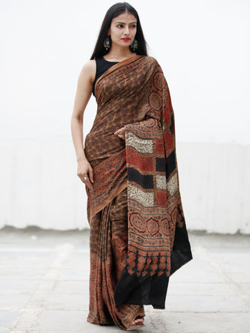 Coffee Brown Black Red Ivory Ajrakh Hand Block Printed Modal Silk Saree in Natural Colors - S031703726