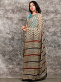 Ivory Black Hand Block Printed Chiffon Saree with Zari Border - S031703220