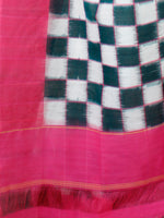 Teal Green Off White Pink Double Ikat Handwoven Cotton Saree - S031703540