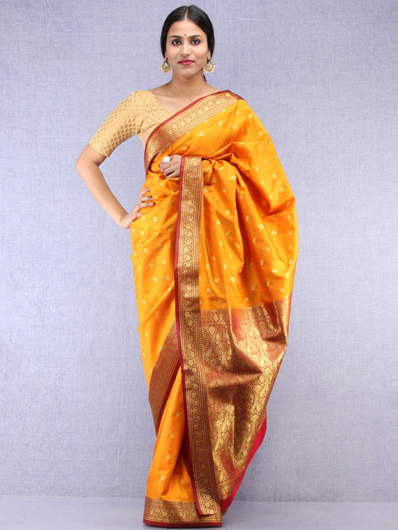 Banarasee Art Silk Self Weave Saree With Zari Work - Mustard Yellow Red & Gold - S031704436