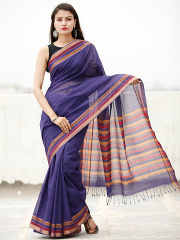 Purple Coral Handloom Mangalagiri Cotton Saree With Zari Border - S031704057