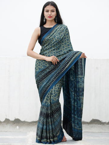 Indigo Fern Green Black Ivory Ajrakh Hand Block Printed Modal Silk Saree in Natural Colors - S031703727