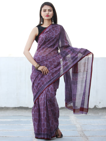 Purple Red Black Bagh Hand Block Printed Kota Doria Saree - S031703903