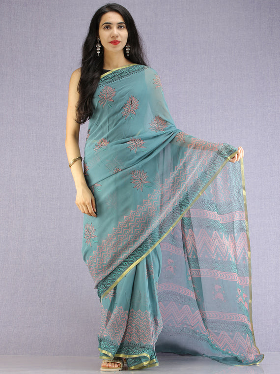 Turquoise Coral Green Hand Block Printed Chiffon Saree with Zari Border - S031704613