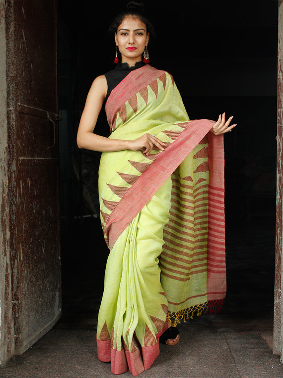 Light Green Red Handwoven Linen Jamdani Saree With Temple Border & Tassels - S031704026