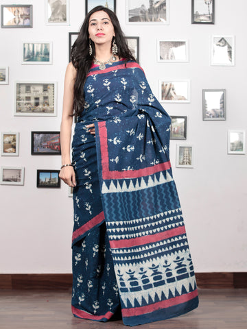 Indigo White Rosewood Pink Hand Block Printed Cotton Mul Saree   - S031703047