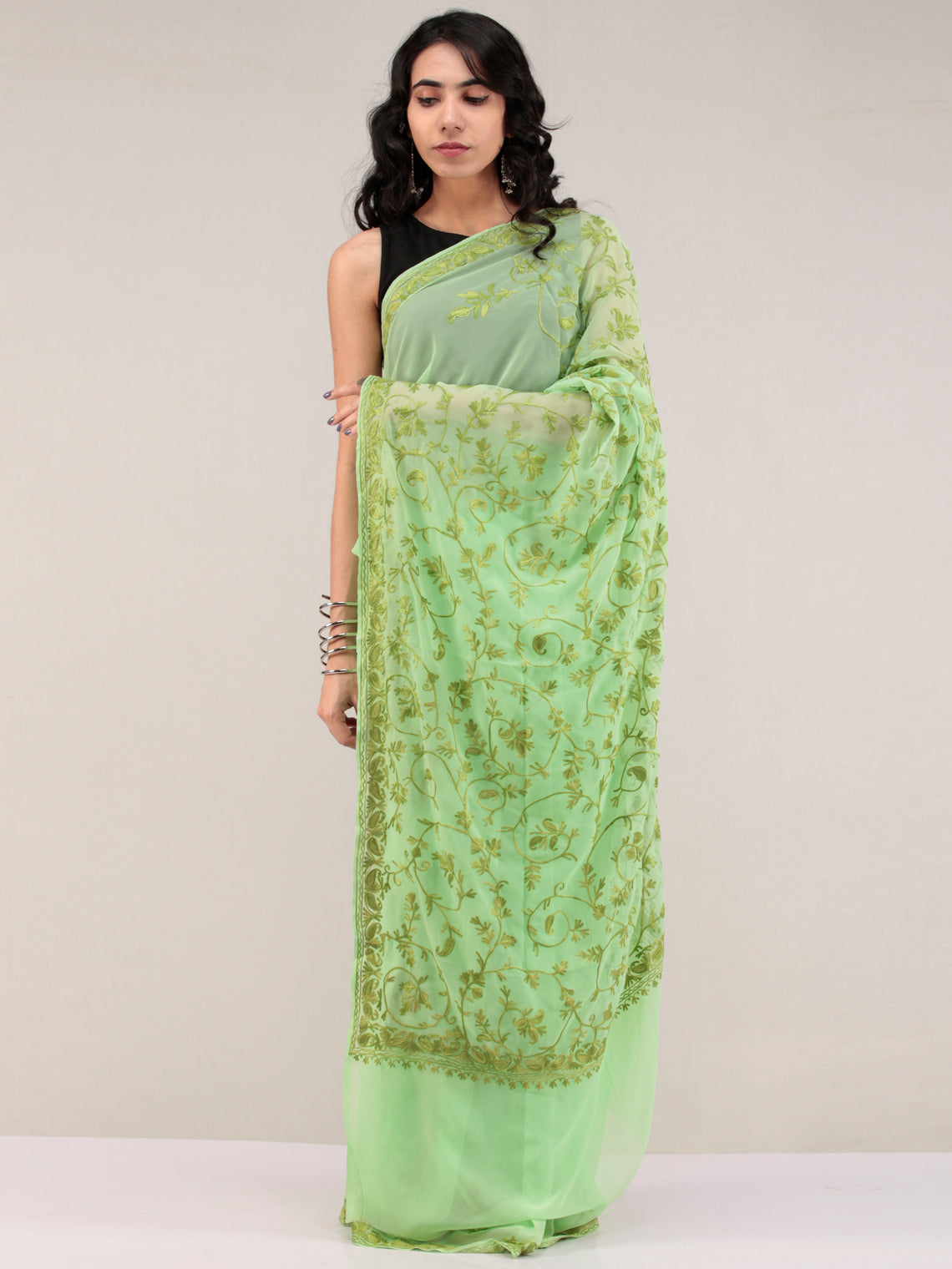 Green Aari Embroidered Georgette Saree From Kashmir - S031704655