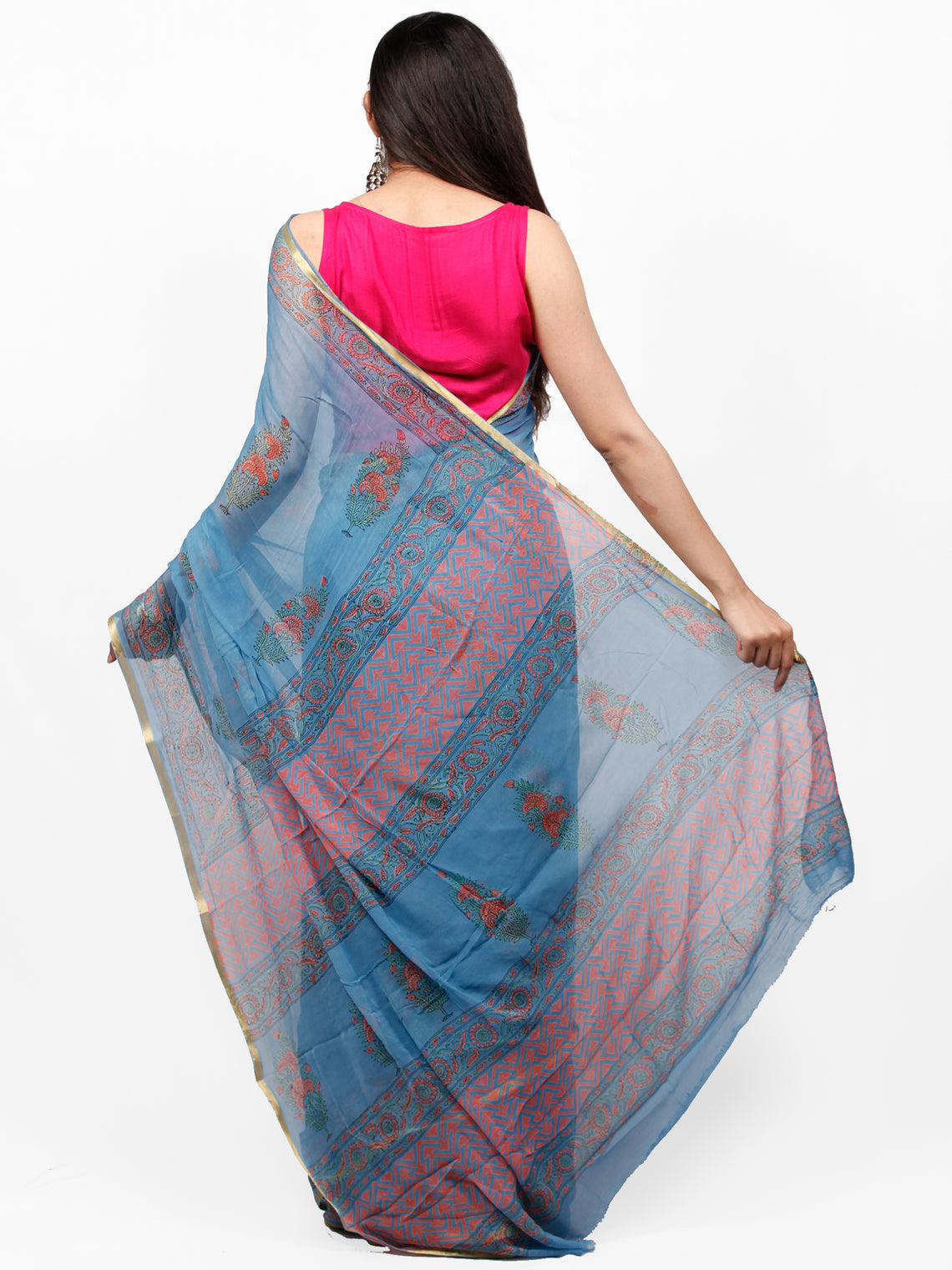 Sky Blue Coral Green Hand Block Printed Chiffon Saree with Zari Border - S031703264