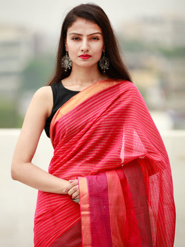 Pink Coral Handloom Mangalagiri Cotton Saree With Zari Border - S031704058