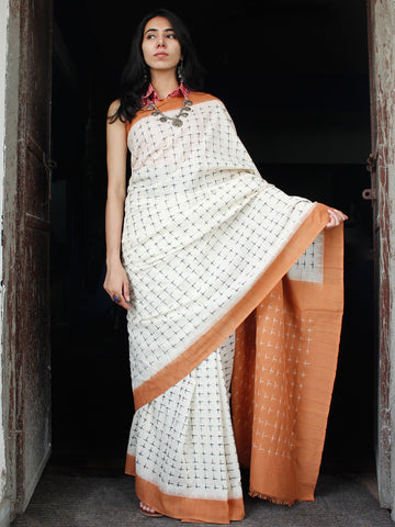 Off White Peanut Brown Black Double Ikat Handwoven Cotton Saree - S031703542